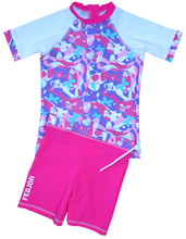 GIRL UV SUN PROTECTION SWIM SET UPF50+ T- SHIRT & SHORTS FANTASIA